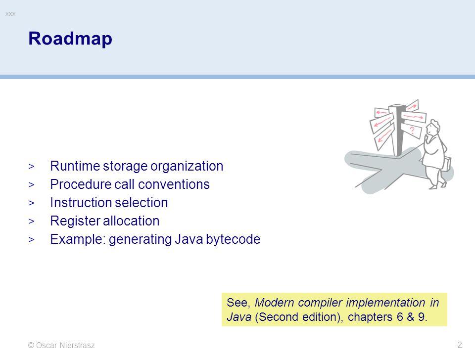 © Oscar Nierstrasz xxx 3 Roadmap  Runtime storage organization  Procedure call conventions  Instruction selection  Register allocation  Example: generating Java bytecode