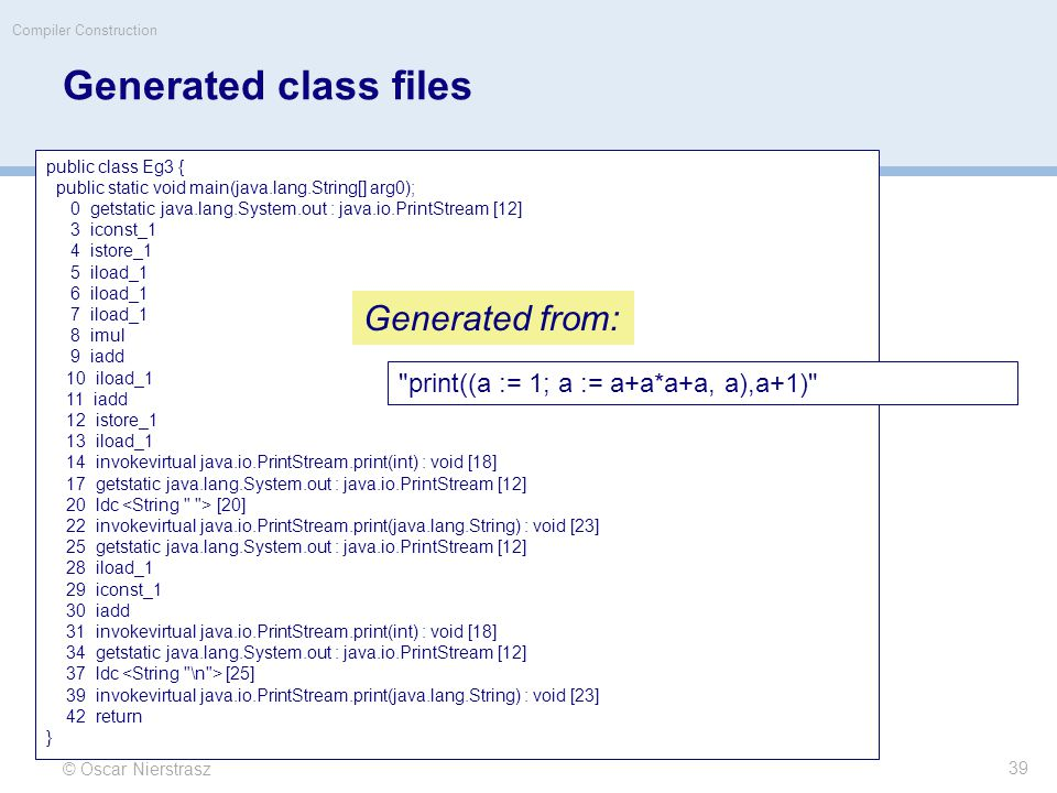 Generated class files © Oscar Nierstrasz Compiler Construction public class Eg3 { public static void main(java.lang.String[] arg0); 0 getstatic java.lang.System.out : java.io.PrintStream [12] 3 iconst_1 4 istore_1 5 iload_1 6 iload_1 7 iload_1 8 imul 9 iadd 10 iload_1 11 iadd 12 istore_1 13 iload_1 14 invokevirtual java.io.PrintStream.print(int) : void [18] 17 getstatic java.lang.System.out : java.io.PrintStream [12] 20 ldc [20] 22 invokevirtual java.io.PrintStream.print(java.lang.String) : void [23] 25 getstatic java.lang.System.out : java.io.PrintStream [12] 28 iload_1 29 iconst_1 30 iadd 31 invokevirtual java.io.PrintStream.print(int) : void [18] 34 getstatic java.lang.System.out : java.io.PrintStream [12] 37 ldc [25] 39 invokevirtual java.io.PrintStream.print(java.lang.String) : void [23] 42 return } Generated from: 39 print((a := 1; a := a+a*a+a, a),a+1)
