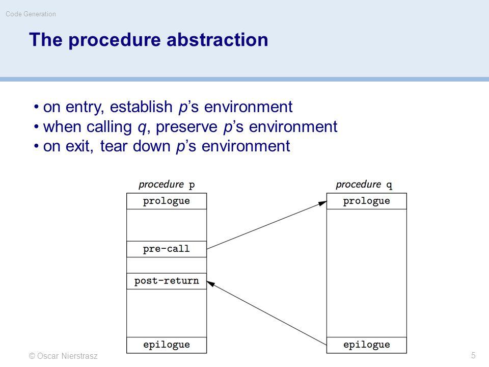Procedure linkages © Oscar Nierstrasz Code Generation 6 Each procedure activation has an activation record or stack frame