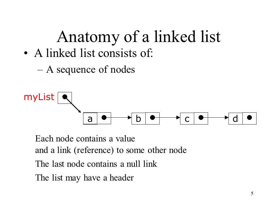 5 Anatomy of a linked list A linked list consists of: –A sequence of nodes abcd Each node contains a value and a link (reference) to some other node T