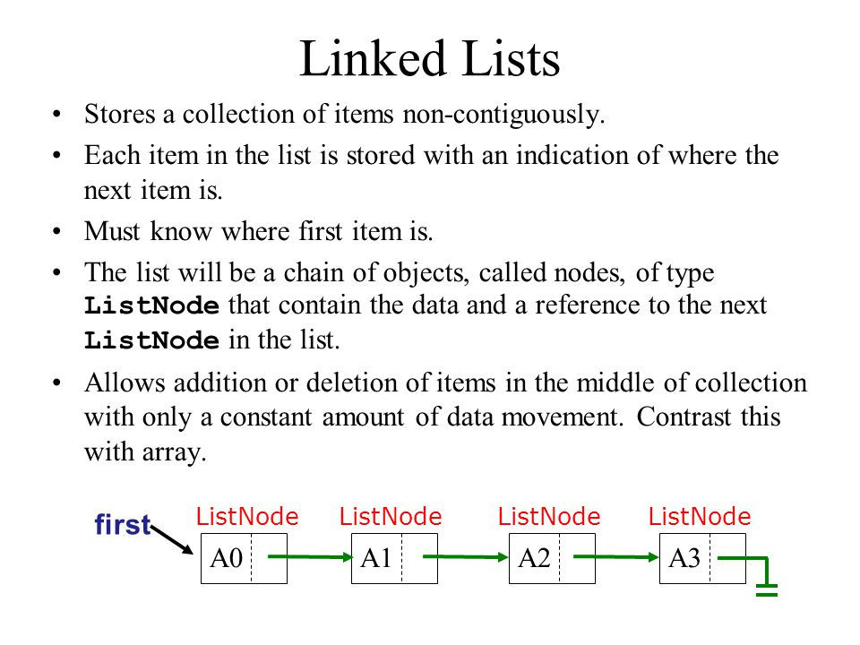 ListNode: Definition public class ListNode { DataType data; ListNode next; // constructors ListNode(DataType d, ListNode n) { data = d; next = n; } ListNode(DataType d) { this (d, null); } ListNode() { this (null); } }