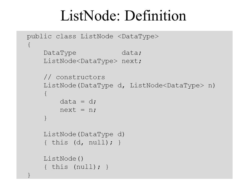 ListNode: Definition public class ListNode { DataType data; ListNode next; // constructors ListNode(DataType d, ListNode n) { data = d; next = n; } Li
