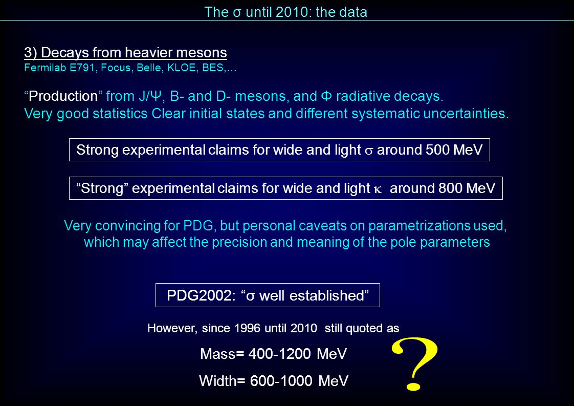 PDG2002: σ well established However, since 1996 until 2010 still quoted as Mass= 400-1200 MeV Width= 600-1000 MeV 3) Decays from heavier mesons Fermilab E791, Focus, Belle, KLOE, BES,… Production from J/Ψ, B- and D- mesons, and Φ radiative decays.