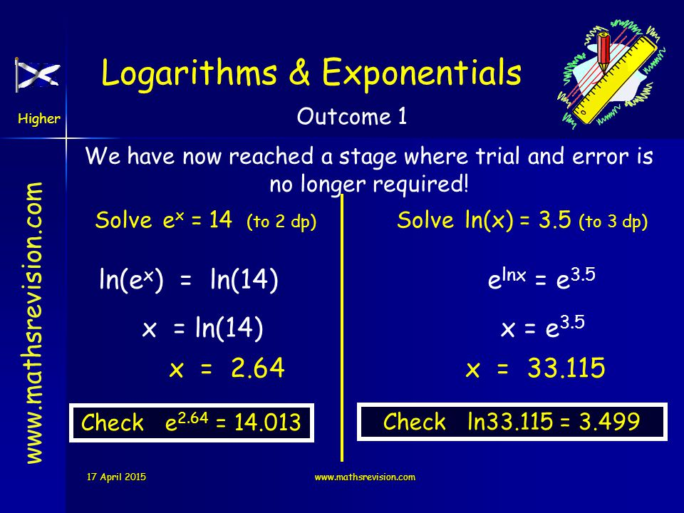 www.mathsrevision.com Higher Outcome 3 You have 2 logarithm buttons on your calculator: which stands for log 10 which stands for log e log ln Try find