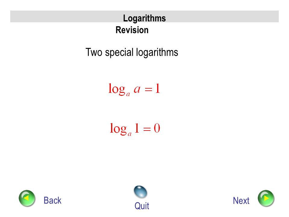 Logarithms Revision Back Next Quit Three Rules of logs