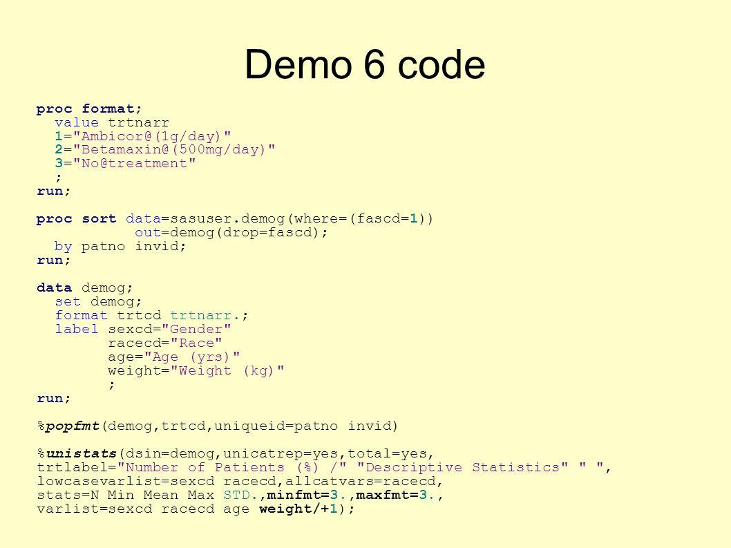 Demo 6 code proc format; value trtnarr 1=
