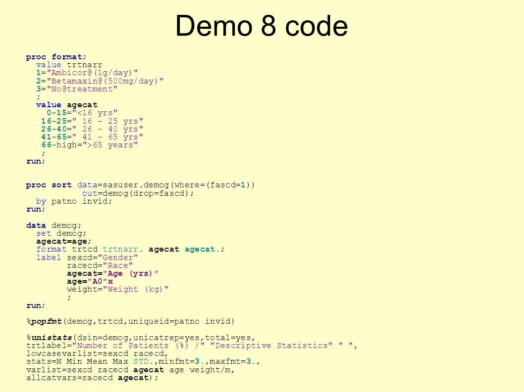 Demo 8 code proc format; value trtnarr 1= Ambicor@(1g/day) 2= Betamaxin@(500mg/day) 3= No@treatment ; value agecat 0-15= <16 yrs 16-25= 16 - 25 yrs 26-40= 26 - 40 yrs 41-65= 41 - 65 yrs 66-high= >65 years ; run; proc sort data=sasuser.demog(where=(fascd=1)) out=demog(drop=fascd); by patno invid; run; data demog; set demog; agecat=age; format trtcd trtnarr.