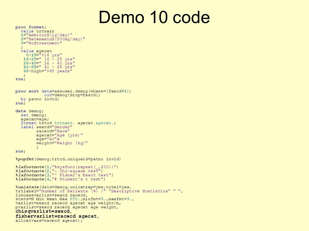 Demo 10 code proc format; value trtnarr 1= Ambicor@(1g/day) 2= Betamaxin@(500mg/day) 3= No@treatment ; value agecat 0-15= <16 yrs 16-25= 16 - 25 yrs 26-40= 26 - 40 yrs 41-65= 41 - 65 yrs 66-high= >65 years ; run; proc sort data=sasuser.demog(where=(fascd=1)) out=demog(drop=fascd); by patno invid; run; data demog; set demog; agecat=age; format trtcd trtnarr.