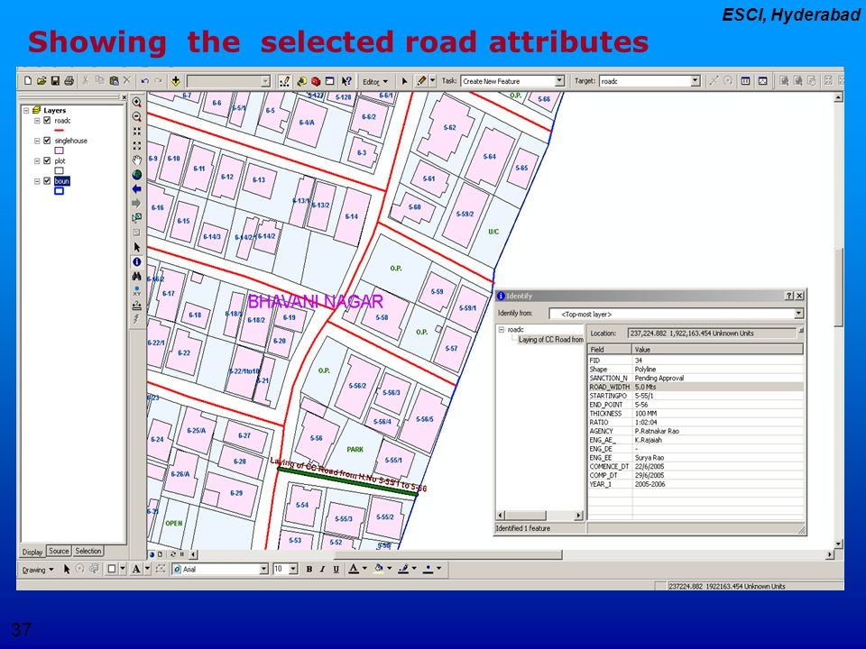 37 ESCI, Hyderabad Showing the selected road attributes