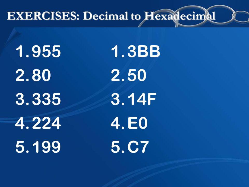 EXERCISES: Decimal to Hexadecimal 1.955 2.80 3.335 4.224 5.199 1.3BB 2.50 3.14F 4.E0 5.C7