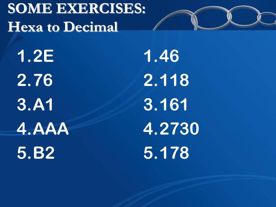 SOME EXERCISES: Hexa to Decimal 1.2E 2.76 3.A1 4.AAA 5.B2 1.46 2.118 3.161 4.2730 5.178