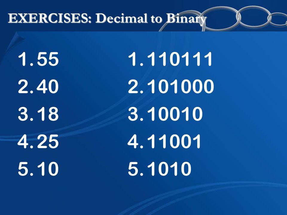 EXERCISES: Decimal to Binary 1.55 2.40 3.18 4.25 5.10 1.110111 2.101000 3.10010 4.11001 5.1010