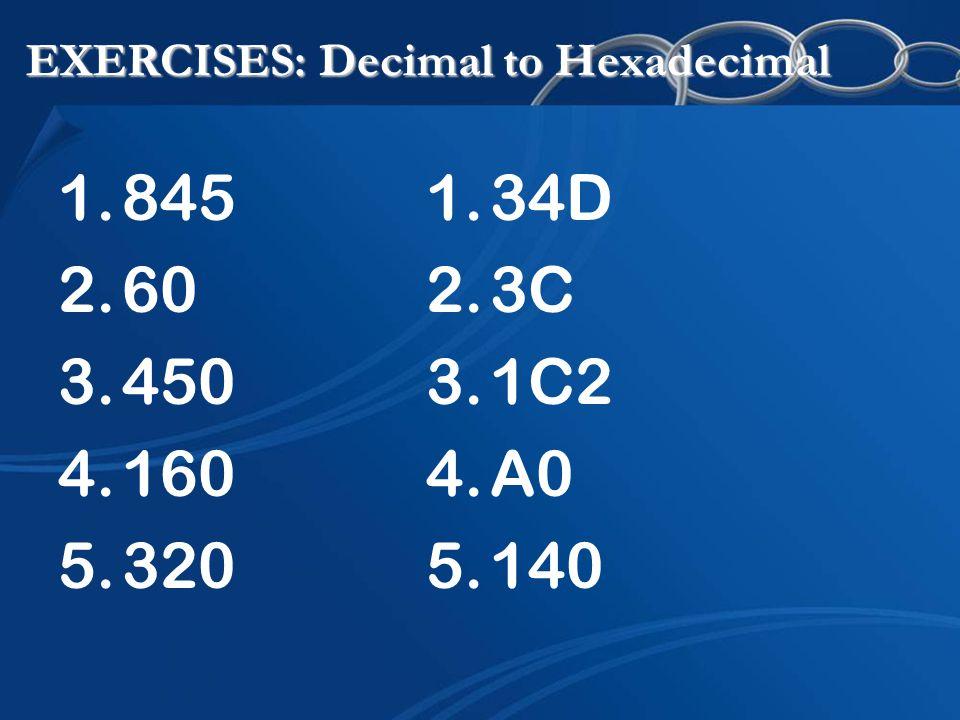 EXERCISES: Decimal to Hexadecimal 1.845 2.60 3.450 4.160 5.320 1.34D 2.3C 3.1C2 4.A0 5.140