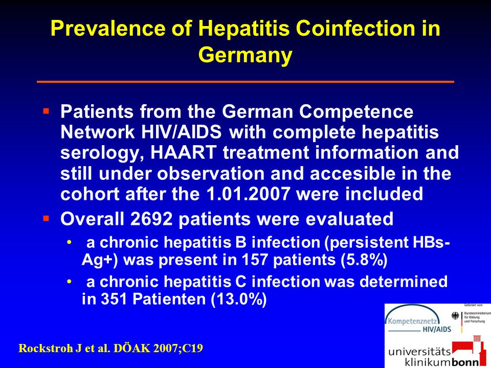 Prevalence of Hepatitis Coinfection in Germany  Patients from the German Competence Network HIV/AIDS with complete hepatitis serology, HAART treatmen