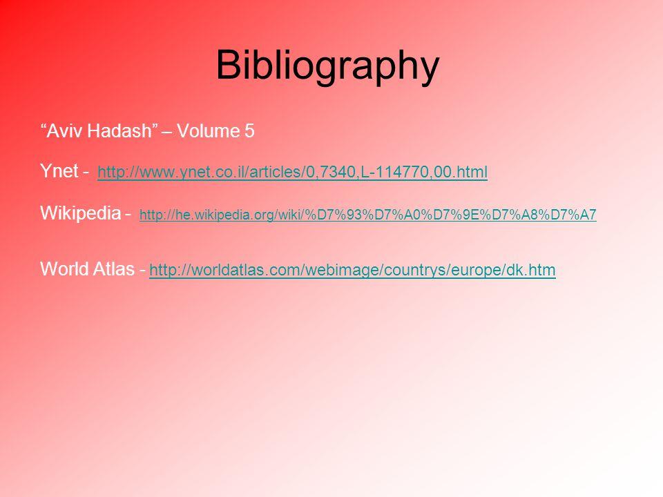 Bibliography Aviv Hadash – Volume 5 Ynet - http://www.ynet.co.il/articles/0,7340,L-114770,00.html Wikipedia - http://he.wikipedia.org/wiki/%D7%93%D7%A0%D7%9E%D7%A8%D7%A7 World Atlas - http://worldatlas.com/webimage/countrys/europe/dk.htm