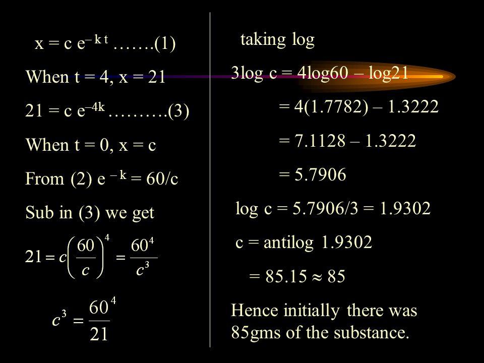 x = c e – k t …….(1) When t = 4, x = 21 21 = c e –4k ……….(3) When t = 0, x = c From (2) e – k = 60/c Sub in (3) we get taking log 3log c = 4log60 – lo