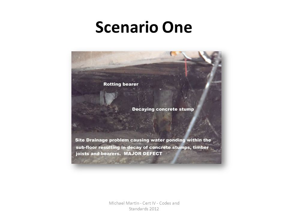 Scenario One Michael Martin - Cert IV - Codes and Standards 2012