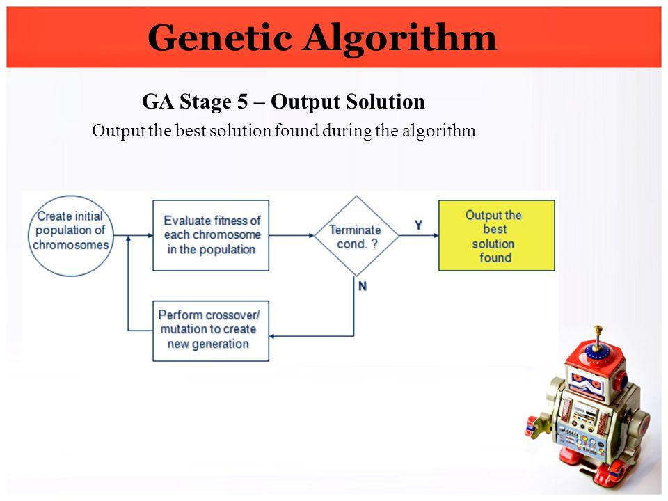 Genetic Algorithm GA Stage 5 – Output Solution Output the best solution found during the algorithm