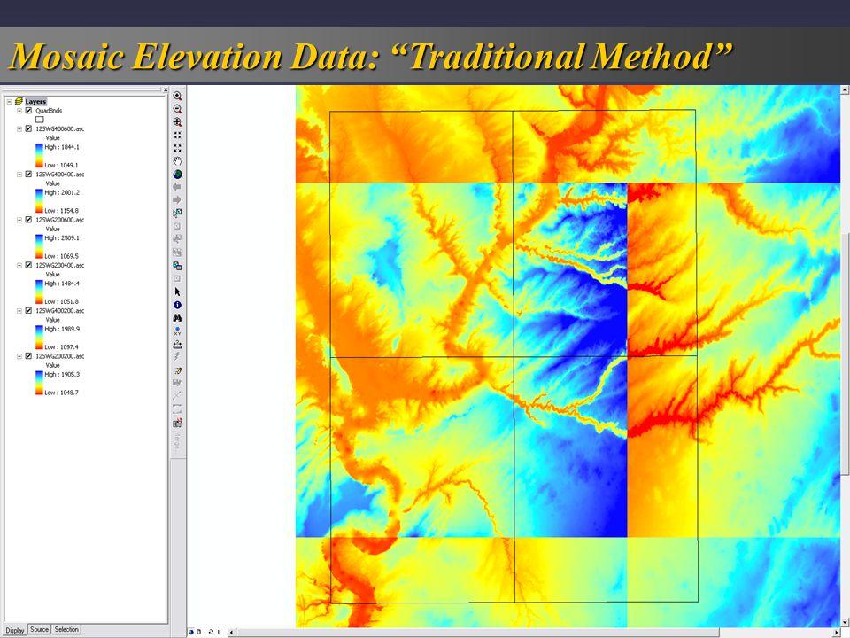 Standard ArcMap display of multiple elevation data sets, using same color ramp.