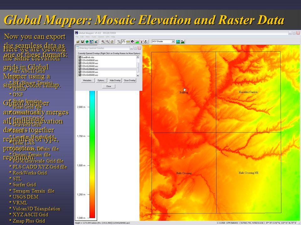 Global Mapper: Raster Blending Start with the DRGs.