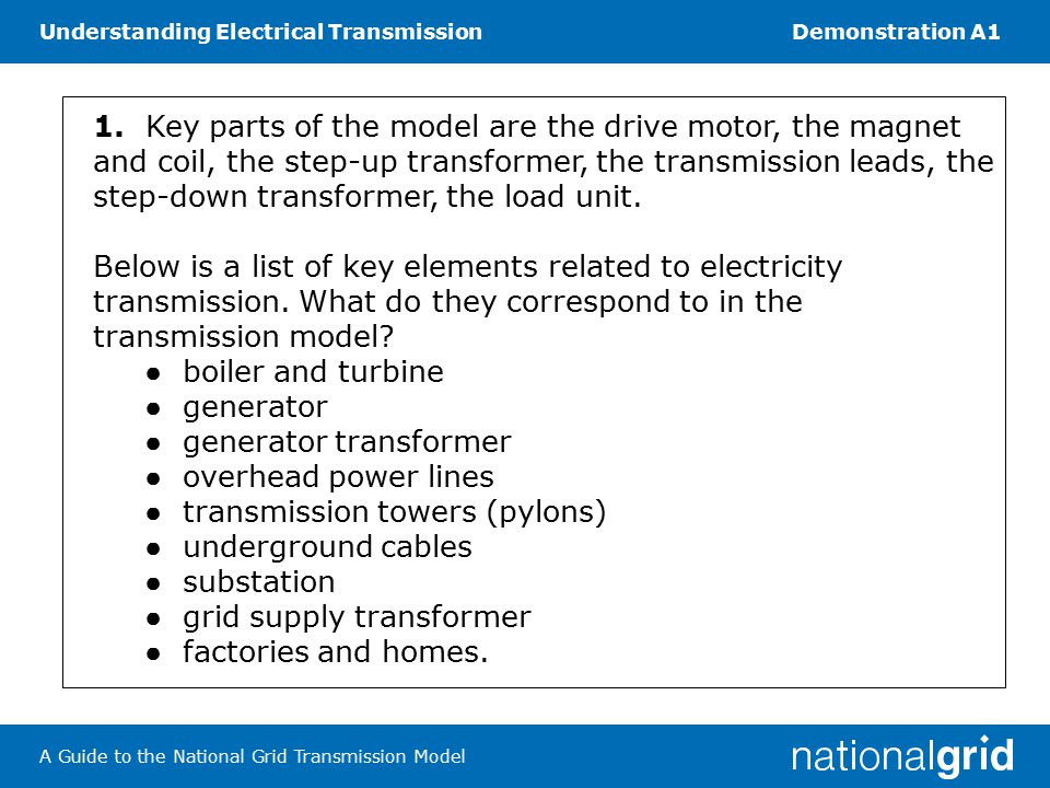 Understanding Electrical TransmissionDemonstration A1 A Guide to the National Grid Transmission Model 1.