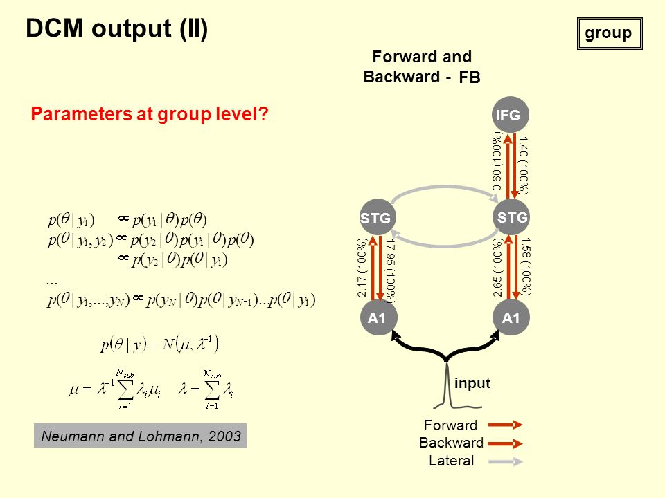 A1 STG Forward Backward Lateral input Forward and Backward - FB STG IFG 2.17 (100%) 17.95 (100%) 2.65 (100%) 1.58 (100%) 0.60 (100%) 1.40 (100%) group Neumann and Lohmann, 2003 DCM output (II) Parameters at group level