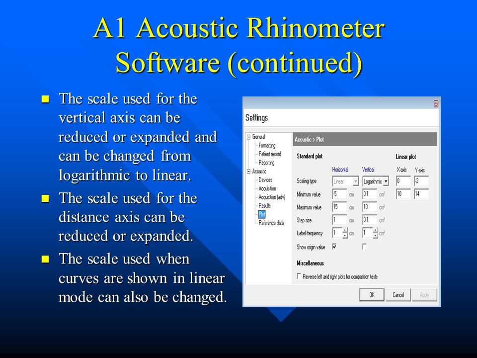 A1 Acoustic Rhinometer Software (continued) The scale used for the vertical axis can be reduced or expanded and can be changed from logarithmic to lin