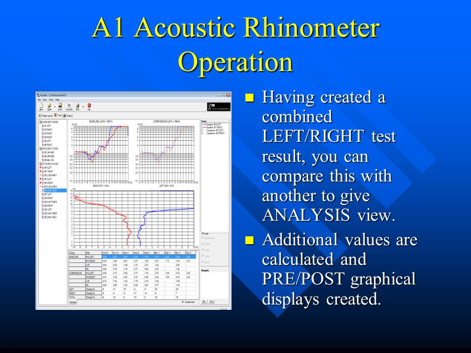 A1 Acoustic Rhinometer Operation Having created a combined LEFT/RIGHT test result, you can compare this with another to give ANALYSIS view. Additional