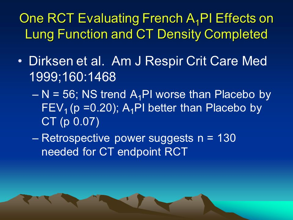 One RCT Evaluating French A 1 PI Effects on Lung Function and CT Density Completed Dirksen et al.