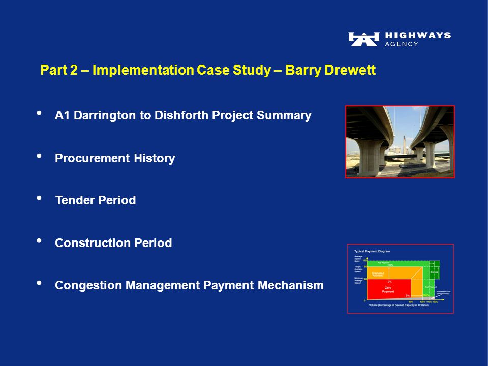 Part 2 – Implementation Case Study – Barry Drewett A1 Darrington to Dishforth Project Summary Procurement History Tender Period Construction Period Congestion Management Payment Mechanism