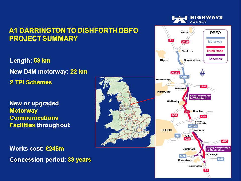 Length: 53 km New D4M motorway: 22 km 2 TPI Schemes New or upgraded Motorway Communications Facilities throughout A1 DARRINGTON TO DISHFORTH DBFO PROJECT SUMMARY Works cost: £245m Concession period: 33 years