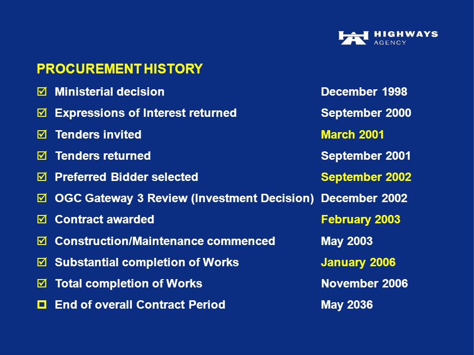 PROCUREMENT HISTORY  Ministerial decisionDecember 1998  Expressions of Interest returnedSeptember 2000  Tenders invitedMarch 2001  Tenders returnedSeptember 2001  Preferred Bidder selectedSeptember 2002  OGC Gateway 3 Review (Investment Decision)December 2002  Contract awardedFebruary 2003  Construction/Maintenance commencedMay 2003  Substantial completion of WorksJanuary 2006  Total completion of WorksNovember 2006 pEnd of overall Contract PeriodMay 2036