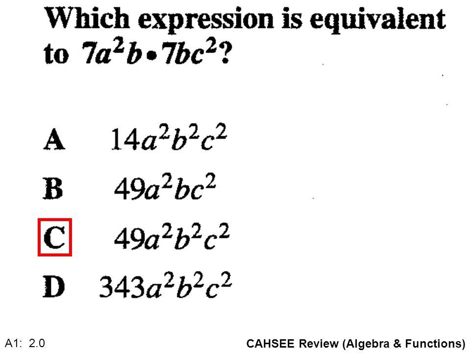 CAHSEE Review (Algebra & Functions) A1: 2.0