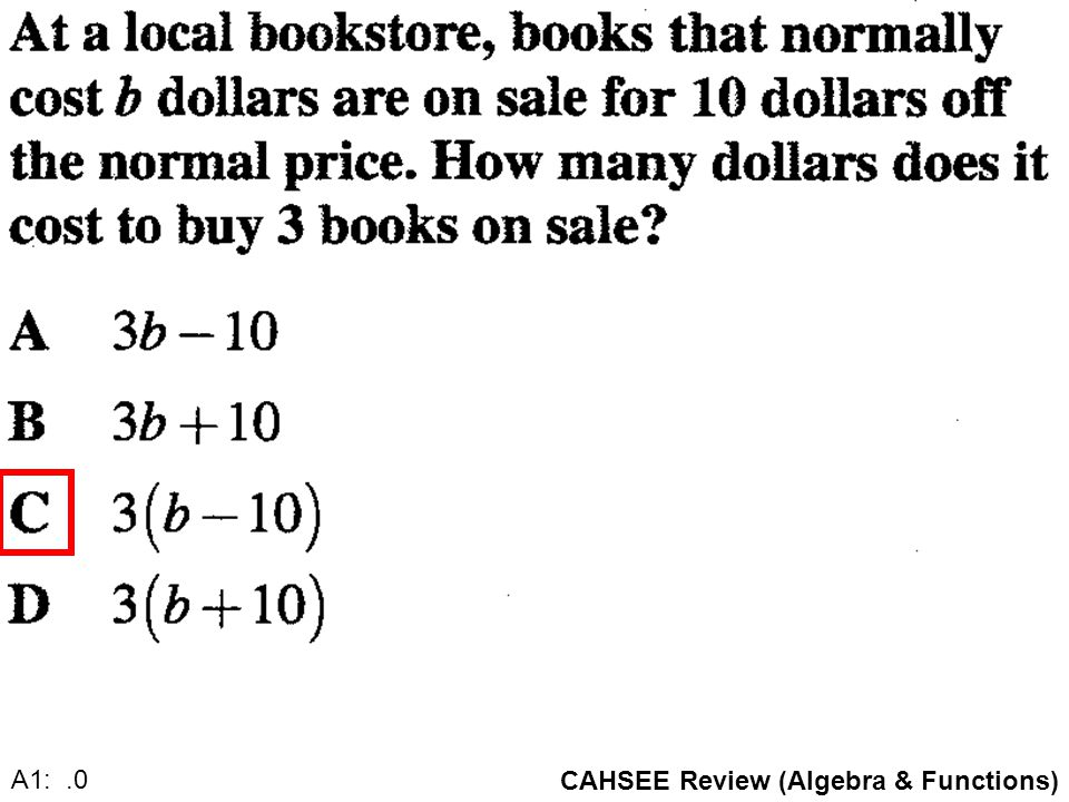 CAHSEE Review (Algebra & Functions) A1: 5.0