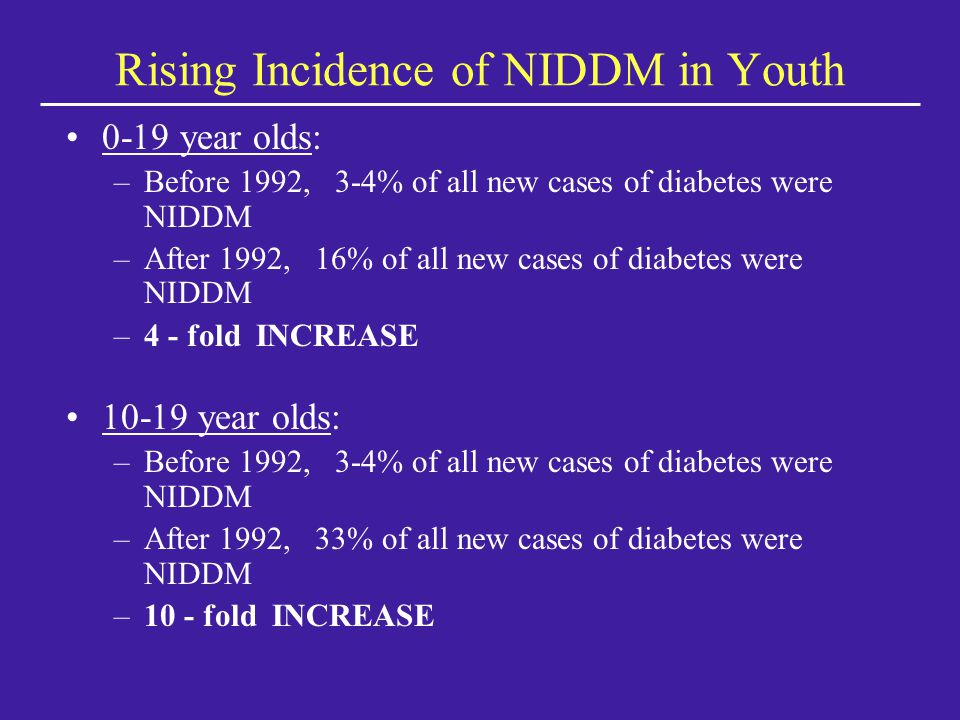 Rising Incidence of NIDDM in Youth 0-19 year olds: –Before 1992, 3-4% of all new cases of diabetes were NIDDM –After 1992, 16% of all new cases of diabetes were NIDDM –4 - fold INCREASE 10-19 year olds: –Before 1992, 3-4% of all new cases of diabetes were NIDDM –After 1992, 33% of all new cases of diabetes were NIDDM –10 - fold INCREASE