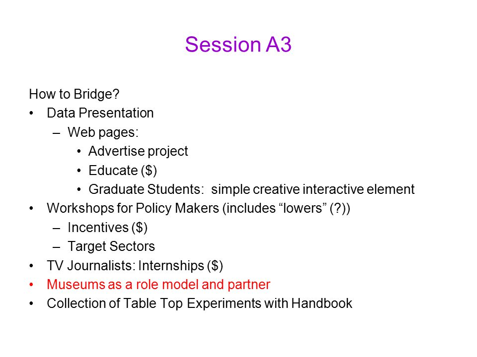 Session A3 How to Bridge.