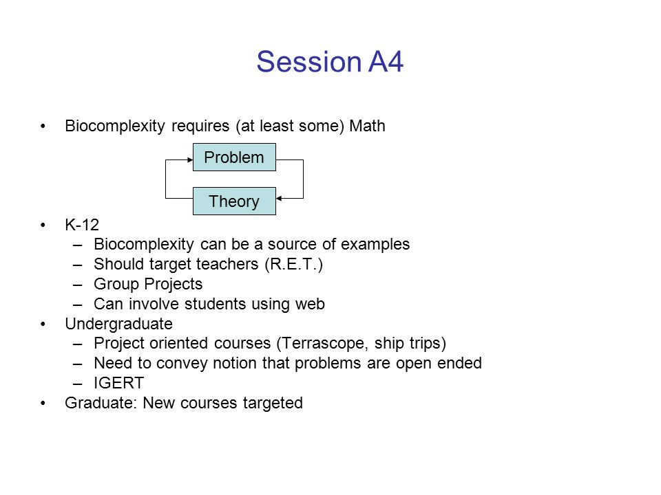 Session A4 Biocomplexity requires (at least some) Math K-12 –Biocomplexity can be a source of examples –Should target teachers (R.E.T.) –Group Projects –Can involve students using web Undergraduate –Project oriented courses (Terrascope, ship trips) –Need to convey notion that problems are open ended –IGERT Graduate: New courses targeted Problem Theory