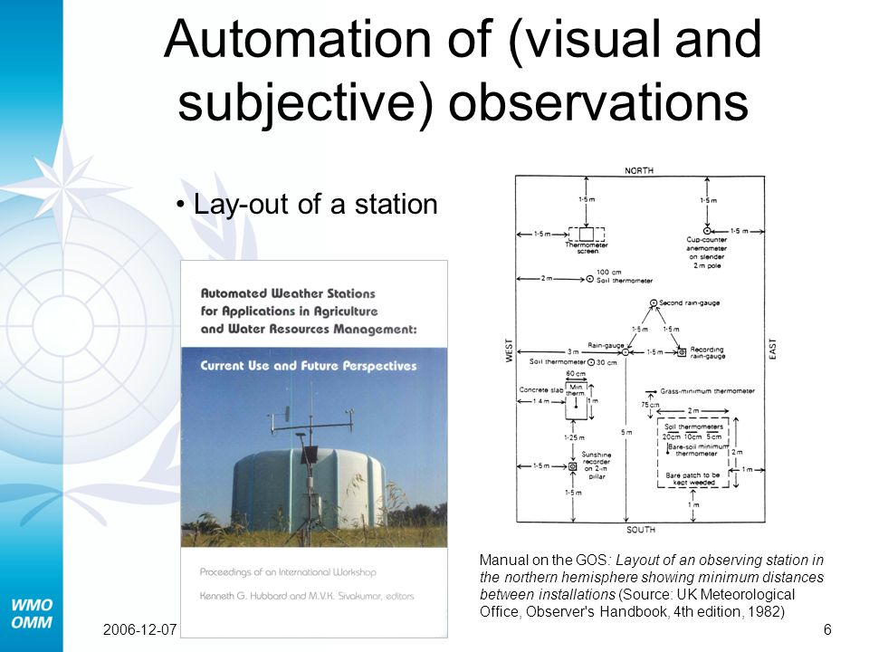62006-12-07 Lay-out of a station Automation of (visual and subjective) observations Manual on the GOS: Layout of an observing station in the northern hemisphere showing minimum distances between installations (Source: UK Meteorological Office, Observer s Handbook, 4th edition, 1982)