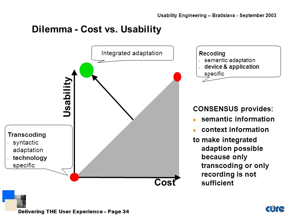 Usability Engineering – Bratislava - September 2003 Delivering THE User Experience – Page 34 Dilemma - Cost vs.