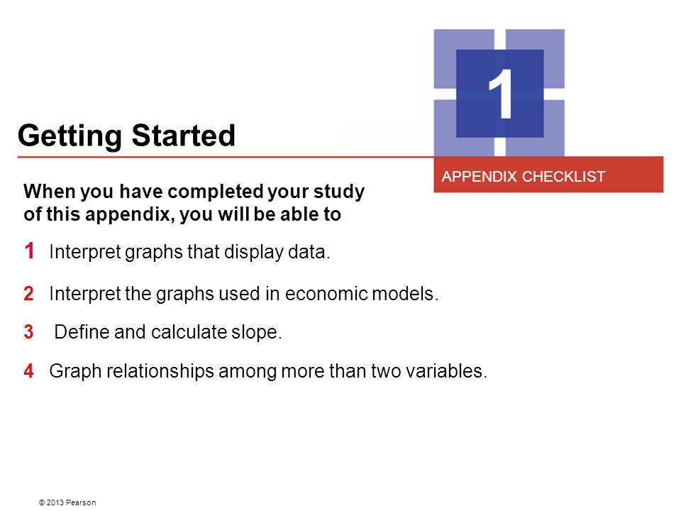 Getting Started 1 When you have completed your study of this appendix, you will be able to 1 Interpret graphs that display data. 2 Interpret the graph