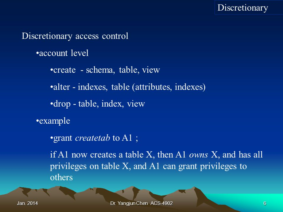 Jan. 2014Dr. Yangjun Chen ACS-49026 Discretionary access control account level create - schema, table, view alter - indexes, table (attributes, indexe