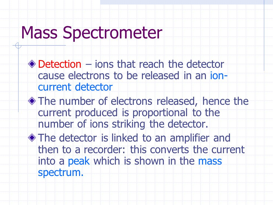 Mass Spectrometer Detection – ions that reach the detector cause electrons to be released in an ion- current detector The number of electrons released