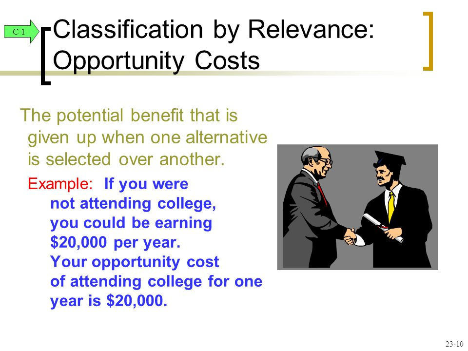 The potential benefit that is given up when one alternative is selected over another.