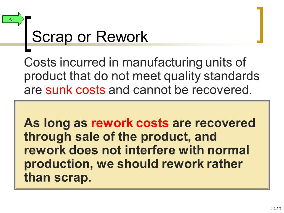 Costs incurred in manufacturing units of product that do not meet quality standards are sunk costs and cannot be recovered.