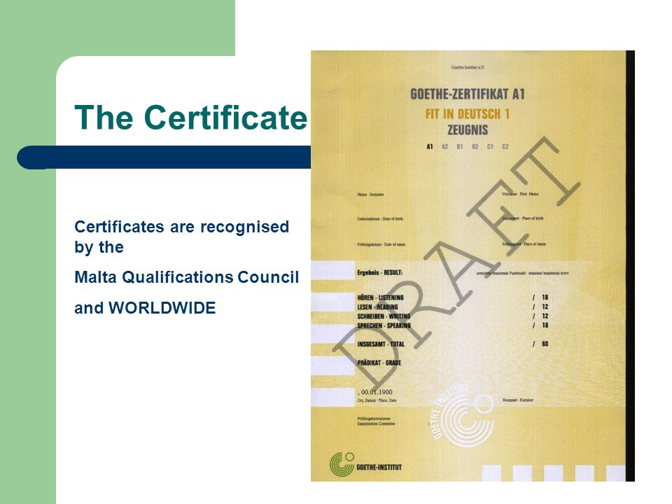 The Certificate Certificates are recognised by the Malta Qualifications Council and WORLDWIDE