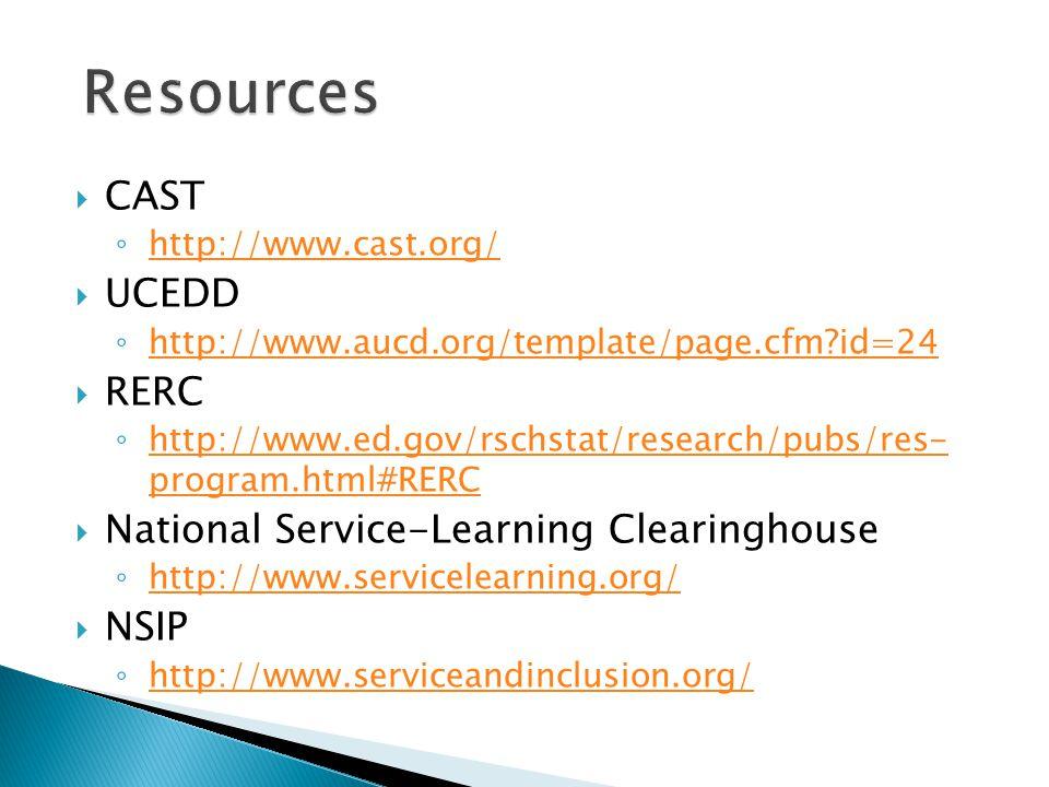  CAST ◦ http://www.cast.org/ http://www.cast.org/  UCEDD ◦ http://www.aucd.org/template/page.cfm id=24 http://www.aucd.org/template/page.cfm id=24  RERC ◦ http://www.ed.gov/rschstat/research/pubs/res- program.html#RERC http://www.ed.gov/rschstat/research/pubs/res- program.html#RERC  National Service-Learning Clearinghouse ◦ http://www.servicelearning.org/ http://www.servicelearning.org/  NSIP ◦ http://www.serviceandinclusion.org/ http://www.serviceandinclusion.org/