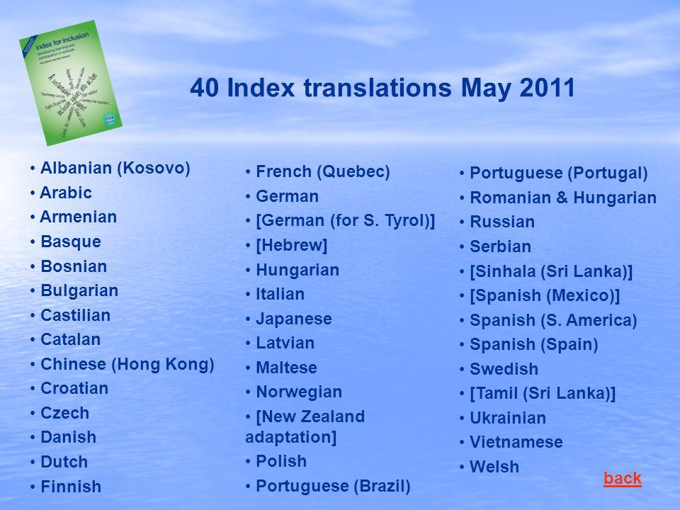 40 Index translations May 2011 Albanian (Kosovo) Arabic Armenian Basque Bosnian Bulgarian Castilian Catalan Chinese (Hong Kong) Croatian Czech Danish Dutch Finnish French (Quebec) German [German (for S.