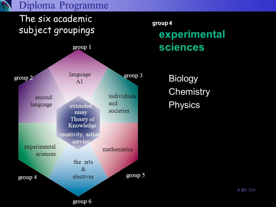Diploma Programme Biology Chemistry Physics arts and electives language A1 experimental sciences second language individuals and societies mathematics experimental sciences group 4 The six academic subject groupings group 6 experimental sciences Theory of Knowledge the arts & electives group 1 language A1 extended essay group 3 group 5 group 2 second language creativity, action, service individuals and societies mathematics group 4 © IBO 2004