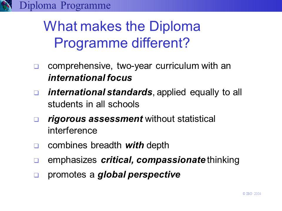 Access to Universities IB diploma graduates have access to the world's leading universities, and are better prepared for success at university Diploma Programme © IBO 2004