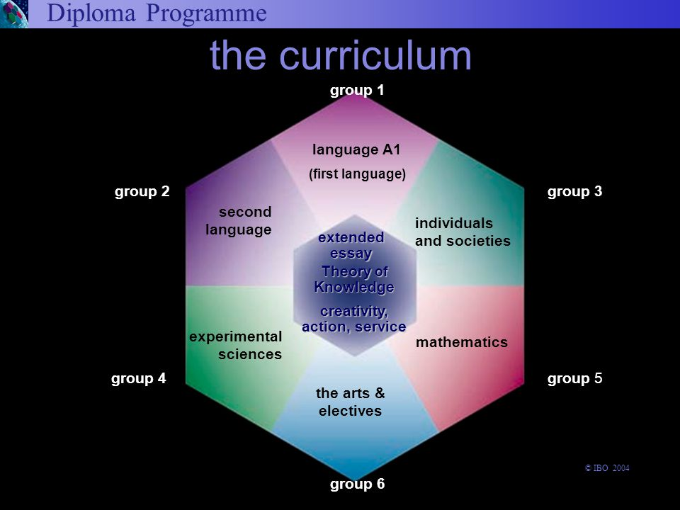 Diploma Programme the curriculum Theory of Knowledge the arts & electives language A1 (first language) extended essay experimental sciences group 4 group 1 group 6 group 3 group 5 group 2 second language creativity, action, service individuals and societies mathematics © IBO 2004